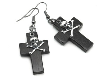 SALE 50% OFF Gothic Earrings - Golgotha - Memento Mori Earrings with Wooden Crosses and Skull Accents - by Ghostlove