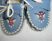 Moccasins TAOS  Rare Blue Leather Beaded Moccasins Boots Shoes Womens Moccasins  New Old Stock