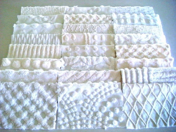 24 7-Inch All White Vintage Chenille Quilt Squares