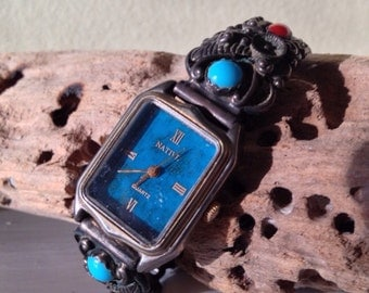 Vintage Turquoise and Silver Watch Band Sterling Squash Blossom Navajo Made in USA Watch  Made in Japan by Native at A Vintage Revolution