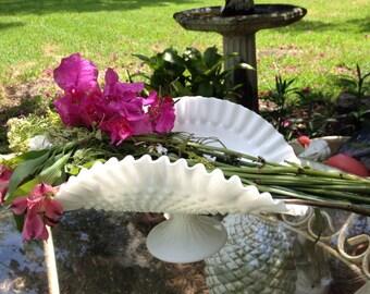 Hobnail White Flower Fenton Vase Hobnail Pedestal Bowl Shabby Chic by A Vintage Revolution