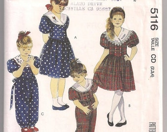 Vintage 1990 Girls Dress Jumpsuit and headband  McCalls 5116 sewing pattern 2 3 4