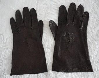 Vintage Brown Kid Shorties Gloves 6 1/2 Reveillon, Made in Germany