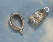 10 Celtic Slider Bails Silver Tone Looping Vine Pendant or Charm Holder with Loop (P1537)