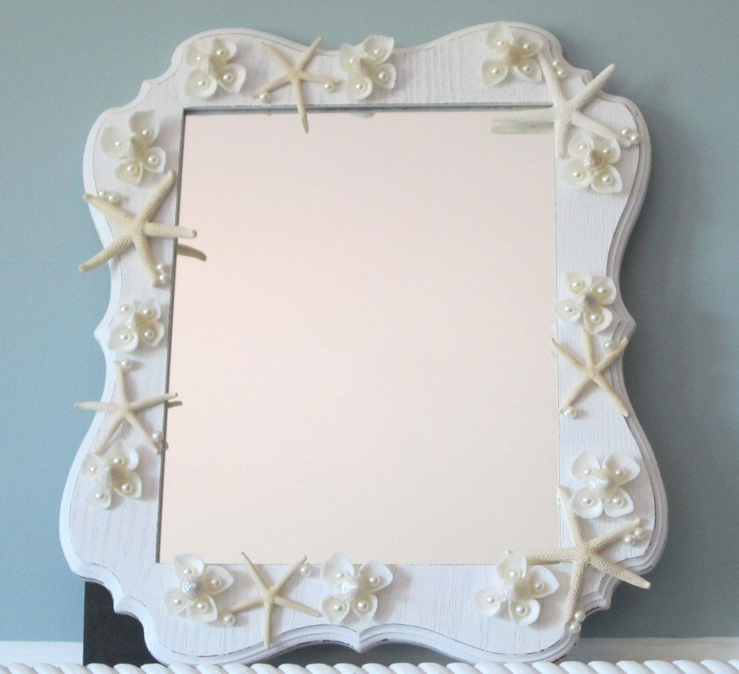 Beach Decor Shell u0026 Starfish Mirror Nautical by beachgrasscottage