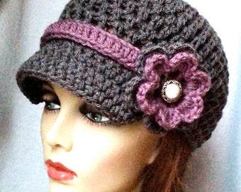 SALE Charcoal Gray Teens Womens Hat, Newsboy, Purple, Pearl Button, Flower, Ribbon, Jewelry, Wedding, Birthday Gifts, Handmade, JE270ANRFB2