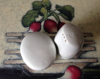 Mid Century Modern White Salt & Pepper Shakers Norway Figgjo
