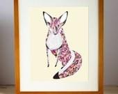 Quilted Fox Print, Multicolored Fox Print, Fox Art Print, Fox Wall Art, Geometric Fox Art, Fox Artwork, Fox Wall Decor, Woodland Fox Print