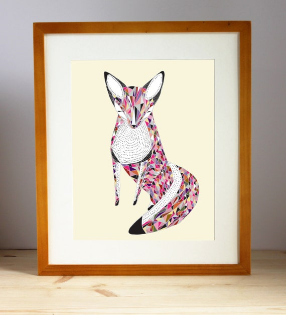 Geometric Fox Art, Fox Wall Art, Quilted Fox Print, Multicolored Fox Print, Fox Art Print, Fox Artwork, Fox Wall Decor, Woodland Fox Print