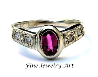 Unique Ruby Engagement Ring Handmade 14k White Gold With Diamonds - Custom Bezel Set Oval Ruby Four Bead Set Diamonds Lacey Flow Ring Design