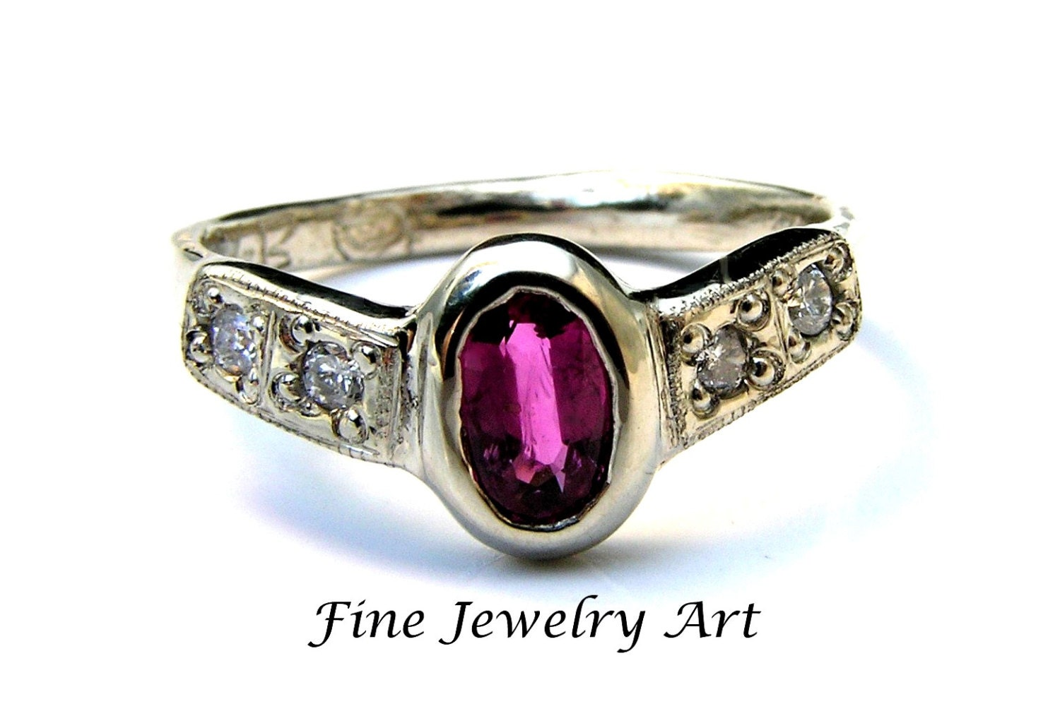 unique ruby engagement ring handmade 14k white gold with