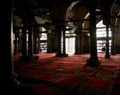 Photograph Inside Historic Islamic Prayer Mosque Masjid Al Azhar Interior Architecture in Cairo Egypt Horizontal Art Print Home Decor
