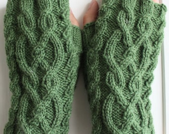 Green Cable Knit Short Fingerless Gloves - Pure Wool