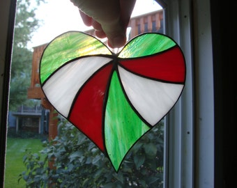 Stained Glass Italian Pride Heart Suncatcher