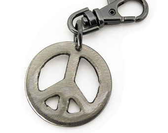 Peace Sign Key Chain by WATTO Distinctive Metal Wear / Keybob Key Fob / Peace Keychain / Gift for Him