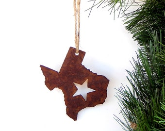 Texas Ornament by WATTO Distinctive Metal Wear, Texas State Shaped Ornament, Rusty Metal Christmas Ornament, Texas Wedding Favor/ Rustic