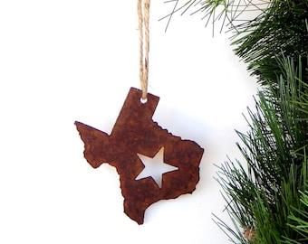 Texas Ornament by WATTO Distinctive Metal Wear, Texas State Shaped Ornament, Rusty Metal Christmas Ornament, Texas Wedding Favor/ Rustic