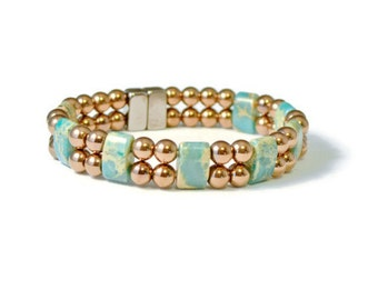 Magnetic Hematite Therapy Bracelet, Impression Jasper & Copper, Holistic Jewelry, Pain Relief