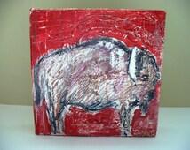 Buffalo Painting Bison Mini Art Southwestern Decor Park City Utah Artist