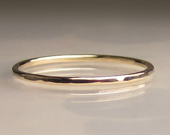 Slim 14k Gold Hammered Wedding Band, 1mm recycled 14k Yellow Gold Ring or 14k Rose Gold Ring
