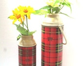 RESERVE CUSTOM LISTING Vintage Pair of Retro Red Plaid King Seeley Thermos Vacuum Bottles, Pint + Quart Size, Photo Prop,Tartan