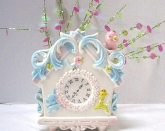 Vintage Time for Baby Nursery Planter, Pink Blue Cuckoo Clock, Wind Up Music Lullaby Go to Sleep Little Baby, Cute Kitsch, Baby Shower Decor