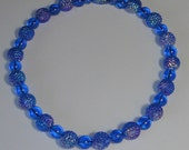 Vintage Blue Lucite Beads Necklace. RESERVED