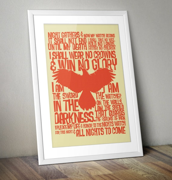 Game of Thrones Nights Watch Oath Print A3 (Retro Red)