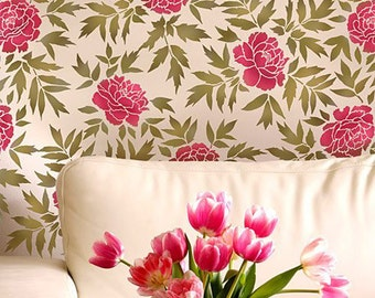 Japanese Peonies Floral Pattern Stencil - reusable stencil patterns for walls just like wallpaper - DIY decor