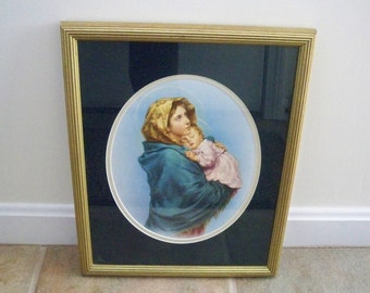 Vintage Home Decor Wall Hanging Madonna and Child Framed Religious Picture
