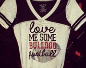football shirt, football mom, custom football tee, love me some football, football mom shirt, football burnout
