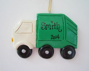 Personalized Trash/Garbage Truck Christmas Ornament