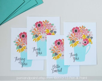 Thank You, Thinking of You, Hello Friend Set of Four Folded Note Cards, Floral, Flowers, Stationery, Illustration 4.25 x 5.5 inches