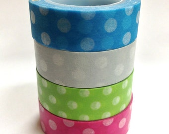 Washi Tape Set - 15mm - Large Dots in Brights - Four Rolls Washi Tape 807 / 809 / 806 / 805