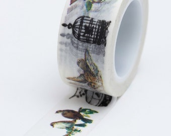 Washi Tape - 20mm - Birds and Cages on White - Deco Paper Tape No. 637