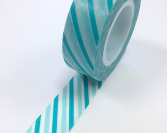 Washi Tape - 15mm - Shade of Aqua Diagonal  - Deco Paper Tape No. 913