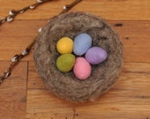 Large Needle Felted Bird's Nest with Eggs