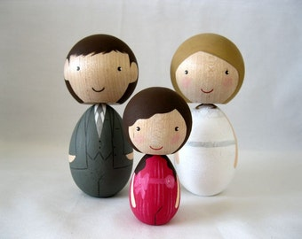 Large Kokeshi Family of 3 Peg Doll Custom Wedding Cake Topper