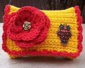Yellow Orange and Red with Red Rhinestone Owl  Crocheted Cotton Little Bit Purse