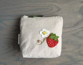 Natural Linen Coin Purse with Strawberry Zipper Pouch
