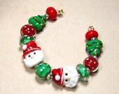 DESTASH CHRISTMAS BEADS Santa Trees Dot Spacers Mix