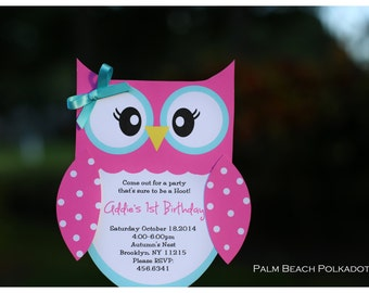10 Owl 1st Birthday Invitations by Palm Beach Polkadots