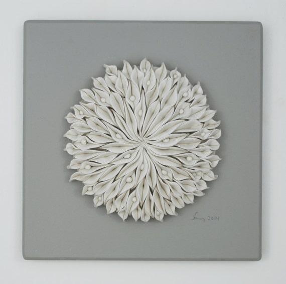 Ceramic Wall Flower Decor: White Flower Porcelain Ceramic Tile Decorative By