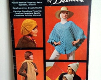 Vintage 1970's Knit Crochet Pattern Book // Accessories by Beehive Patons // Stole Beret Poncho Socks Toque