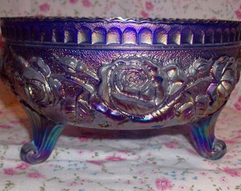 Imperial Luster Rose Carnival Glass Fernery Blue 3 footed Bowl UM Circa 1960s, marked IG  Beautiful
