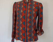 Silk Blouse Printed Button Up Vintage