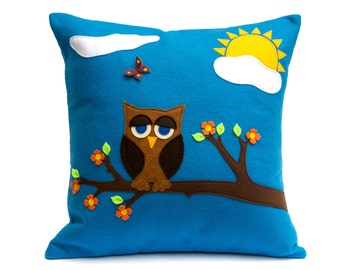 Little Owl in Springtime - Appliqued Eco-Felt Pillow Cover - 18 inches