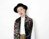 Vintage scarf / colorful texture sheer fringe shawl
