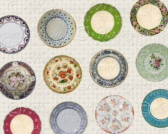Old Plates / Antique China / Vintage Dishes - Printable INSTANT DOWNLOAD One Inch Round Designs Digital JPG Collage Sheet