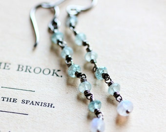 March Birthstone Earrings Aquamarine Earrings Long Dangle Earrings Silver Earrings Sterling Silver Earrings Moonstone - Pleiades